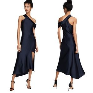 Cushnie Asymmetrical-Neck Slip Cascading Dress
